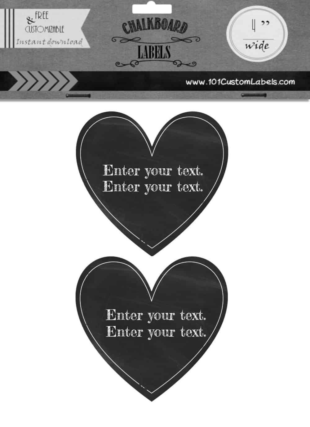 Trust image inside printable heart shaped labels