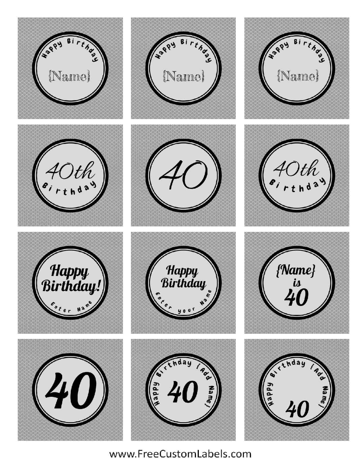 40th Birthday Presents >> 40th Birthday Cupcake Toppers - Free & Customizable