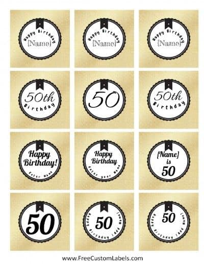 50th Birthday Cake Toppers - Free Custom Labels