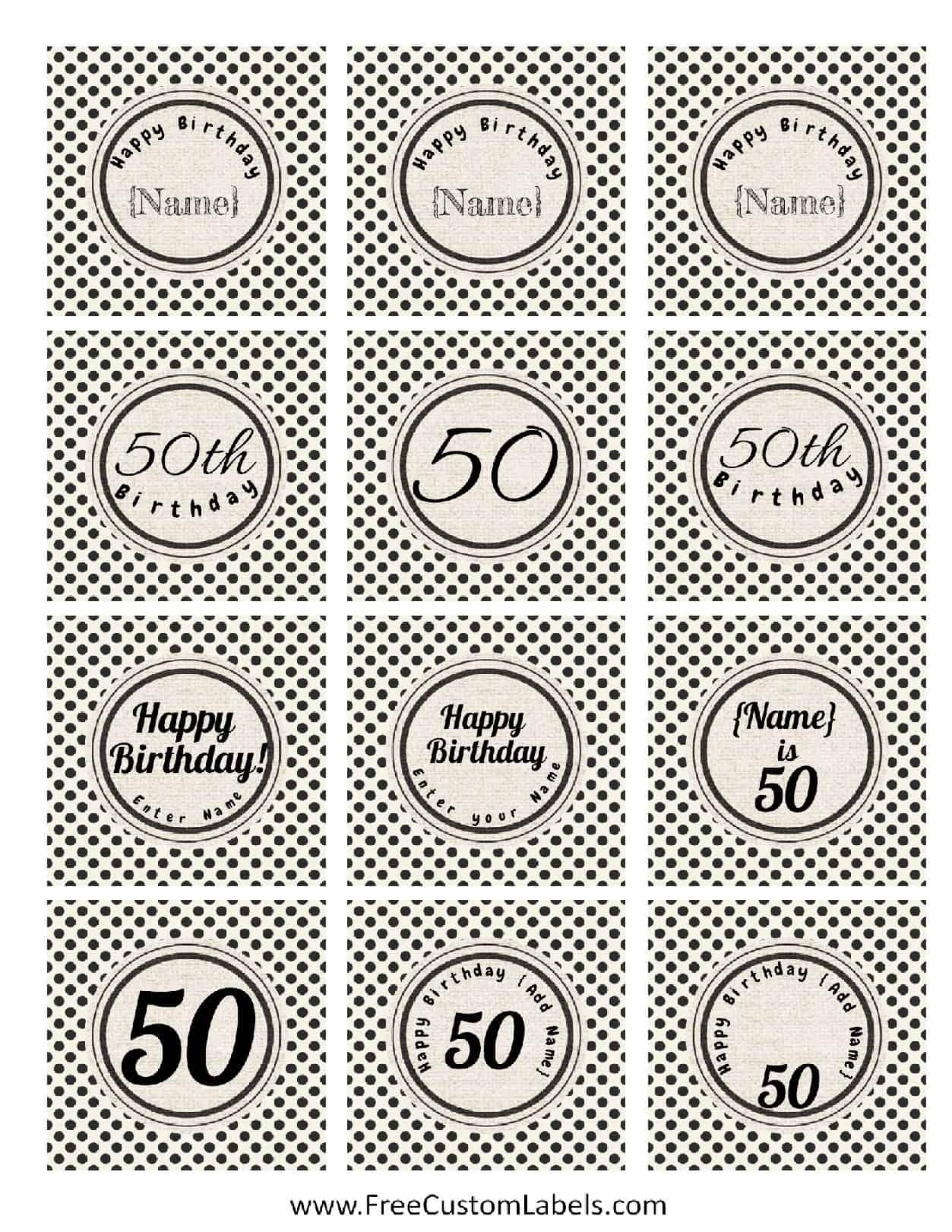 50th birthday cupcake toppers free and customizable for Cake labels template