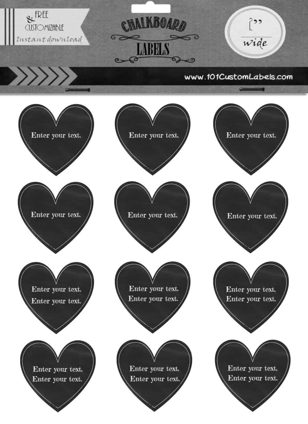 free custom heart labels