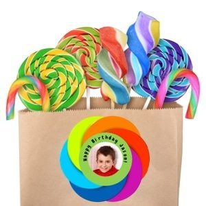 Create a custom favor label online with your photo and text. Adhere to a plain brown bag to create a colorful custom party favor or DIY gift.