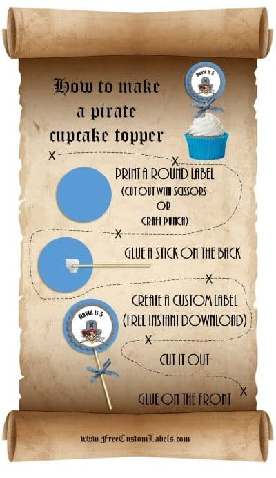how to make pirate cupcakes and pirate cupcake toppers
