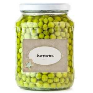 label on jar of peas