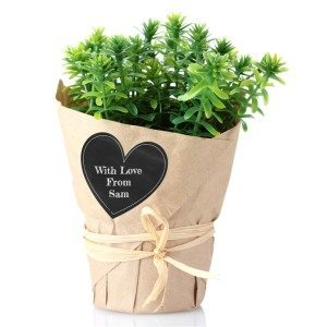 Turn a pot plant into a personalized gift within seconds. Make these heart shaped chalkboard labels online (free) ahead of time and keep them at home to adhere to gifts to personalized them.