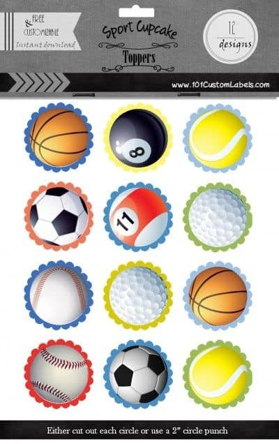 sport cupcake toppers