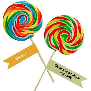 These flag shaped labels can be customized with your own text and then used as party favor labels on large lollipops or any candy with a stick to instantly turn a piece of candy into a party favor.