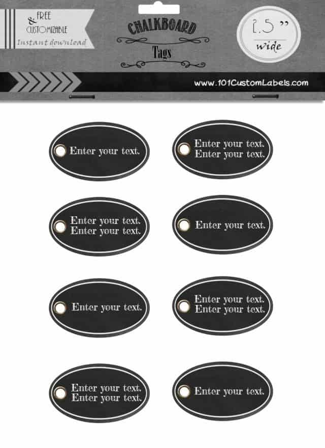 chalkboard labels with an oval shape