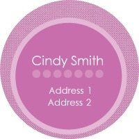 circle sticker in pink with polka dots