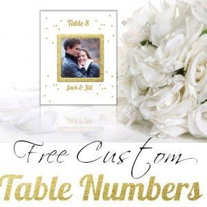Free printable table numbers for a wedding with a photo of the bride and groom