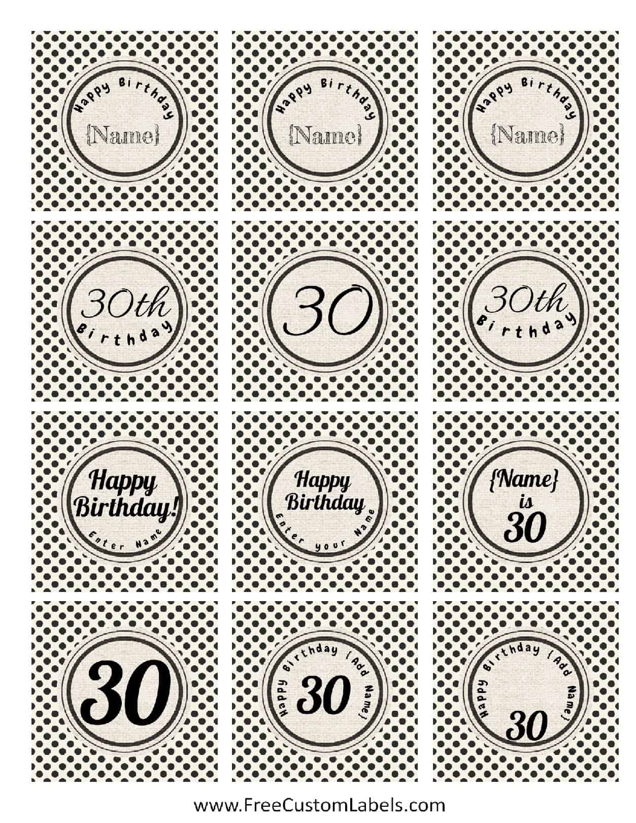 30th birthday cake toppers for Cake labels template