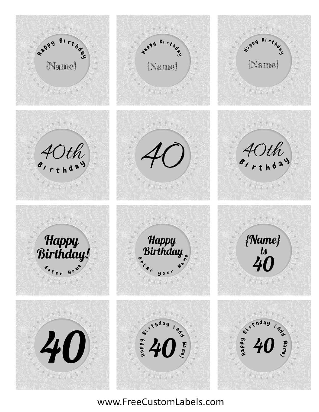 40th Birthday Cupcake Toppers - Free & Customizable