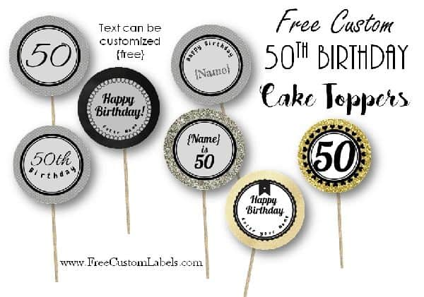 picture about Happy Birthday Cake Topper Printable named 50th Birthday Cupcake Toppers - Absolutely free and Customizable