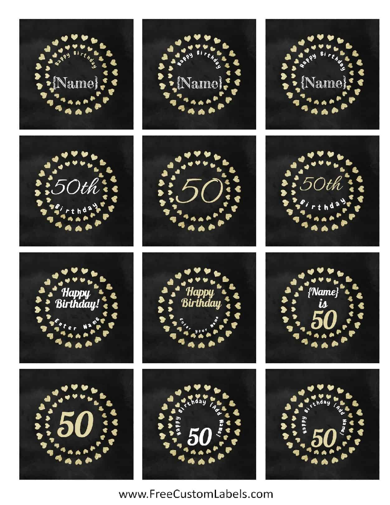 50th Birthday Cake Label Maker Chalkboard Cupcake Toppers