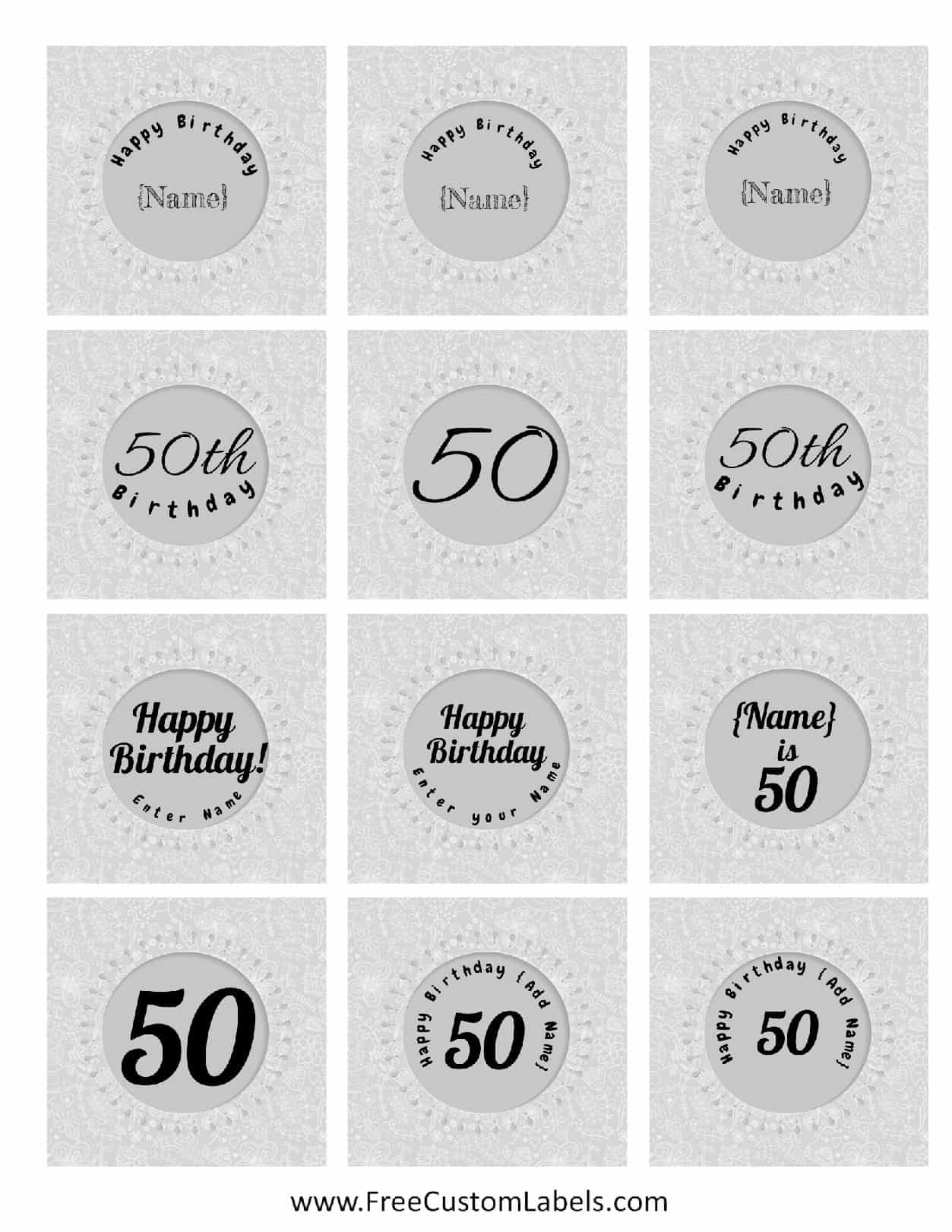 Printables For 50th Birthday Label Maker