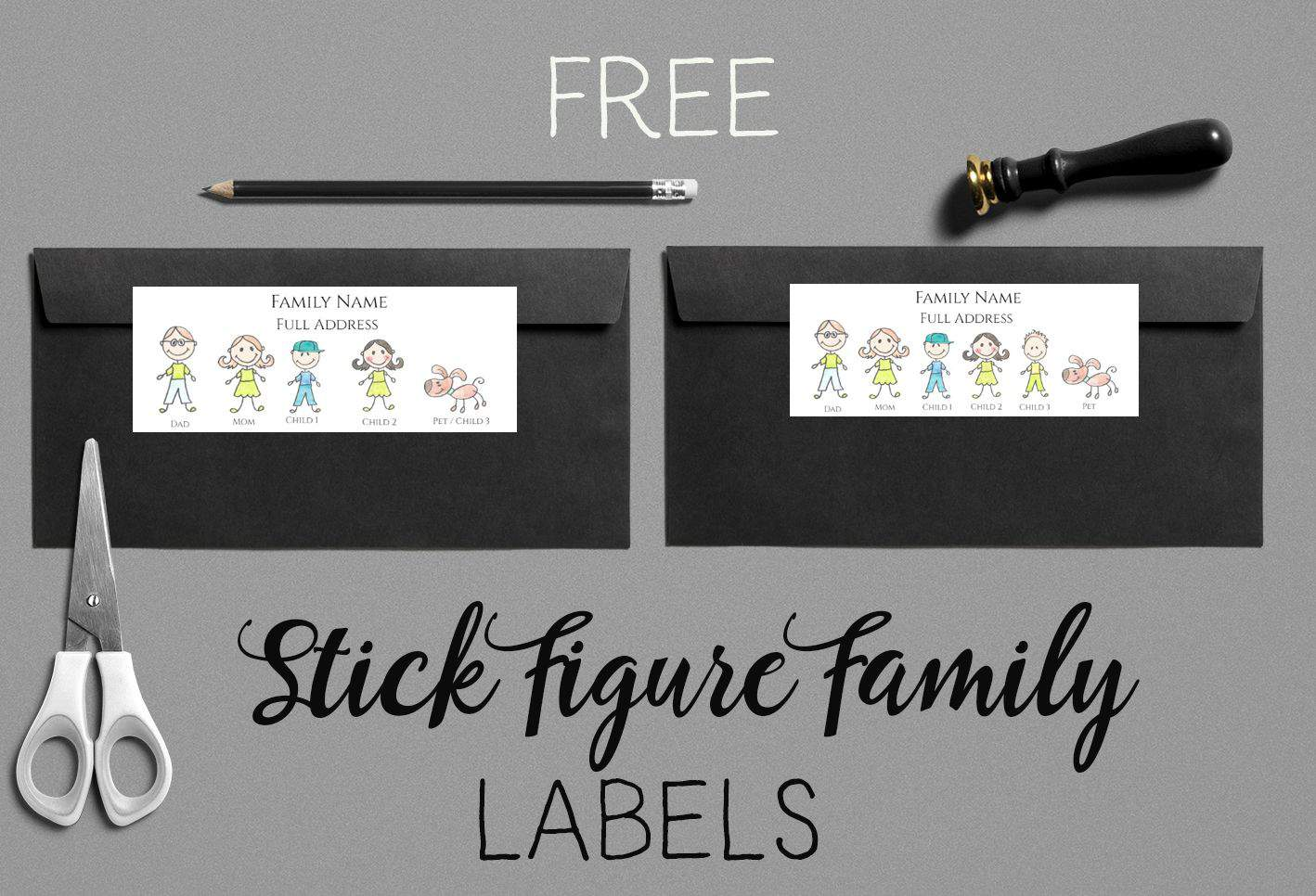 Stick figure family generator | Create labels or stickers ...