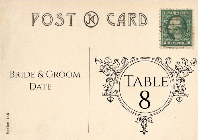 table number on vintage postcard