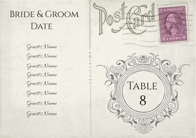 table number with list of guests