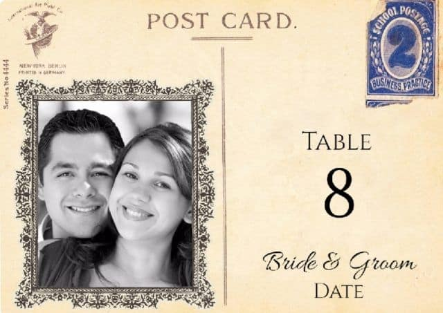table number with photo of bride and groom