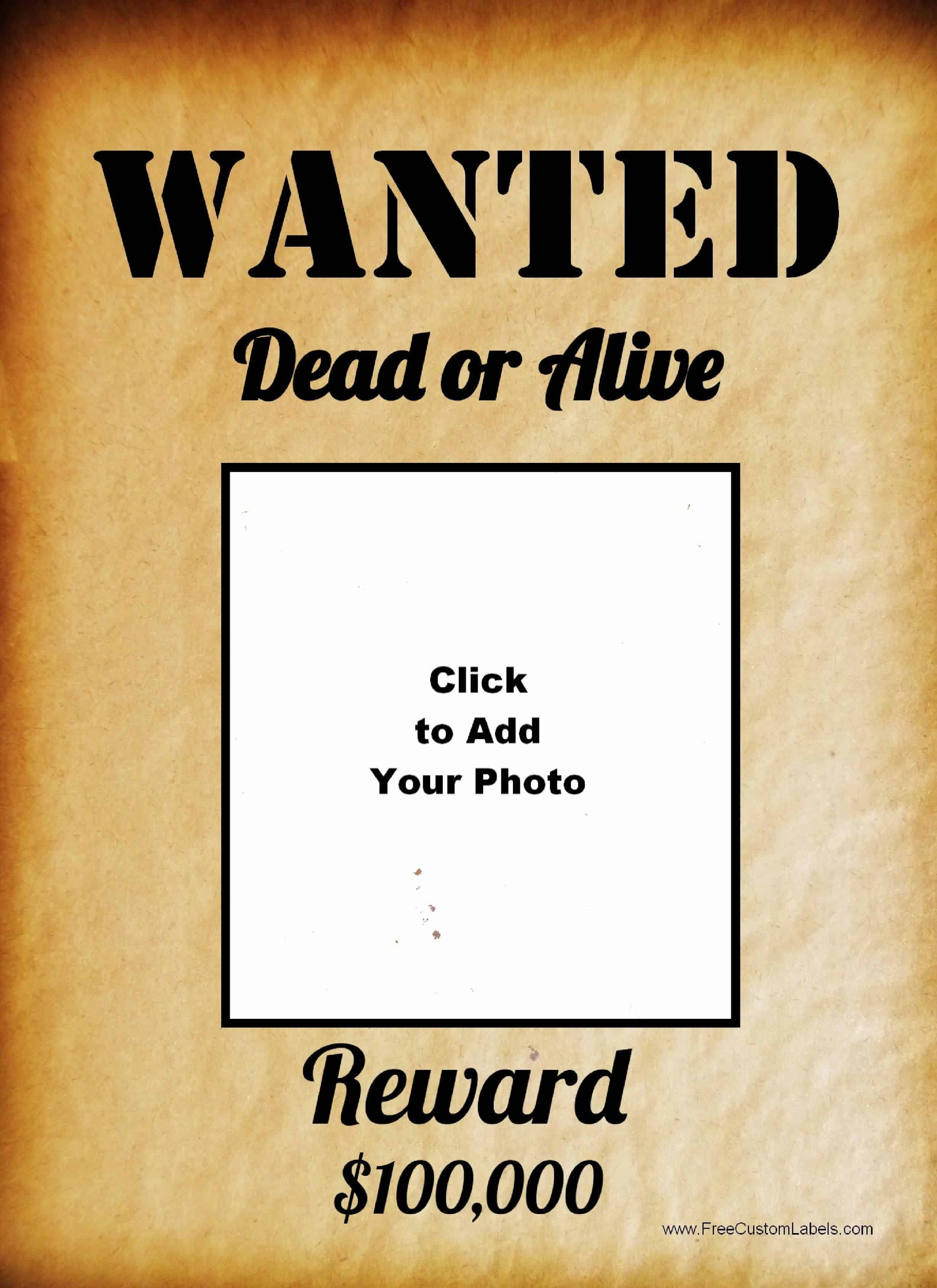 Printable Poster  Printable Wanted Poster Template