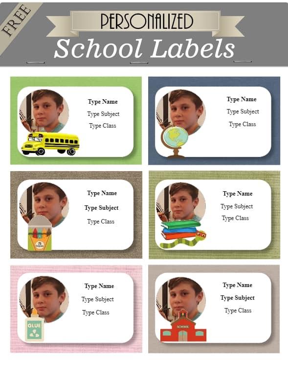 Kids school labels
